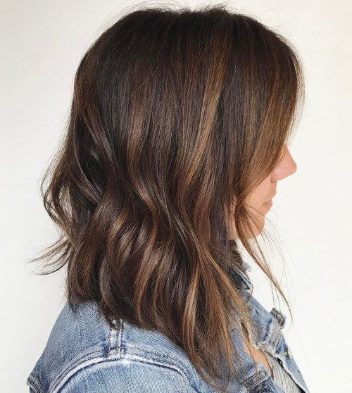 тъмен Brown Long Bob with Copper Highlights