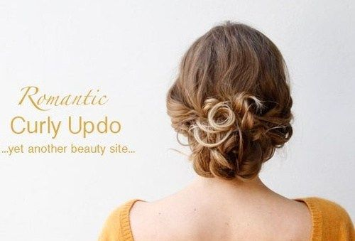 хлабав low curly updo
