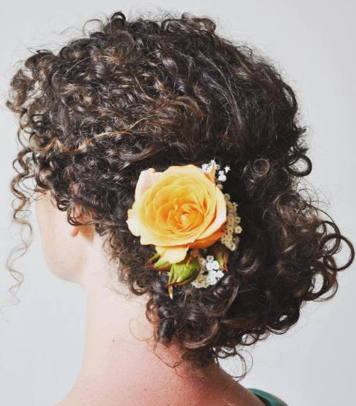 ниско Updo With A Rose For Natural Hair
