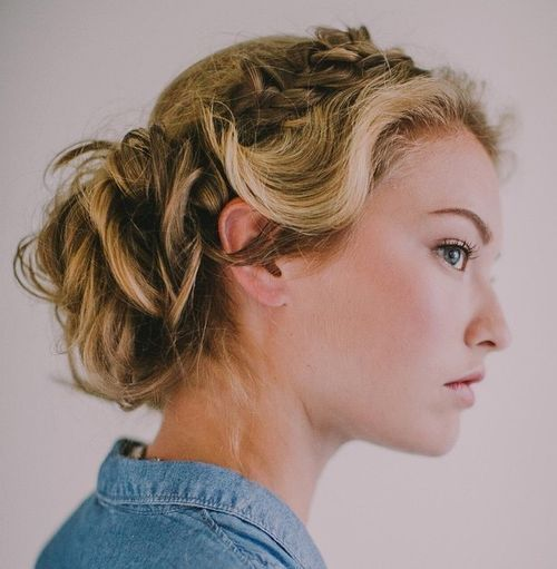 Рус curly updo with a side braid