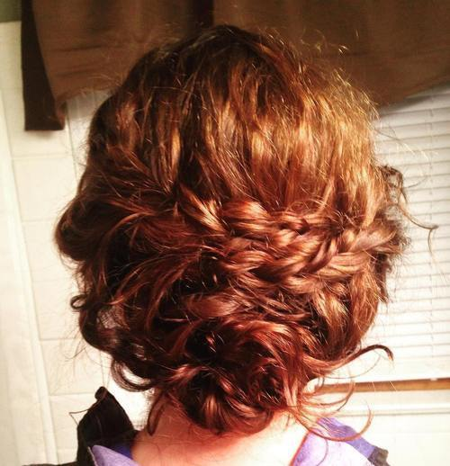 разхвърлян loose updo with two braids