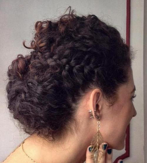 лесно curly updo with a side braid