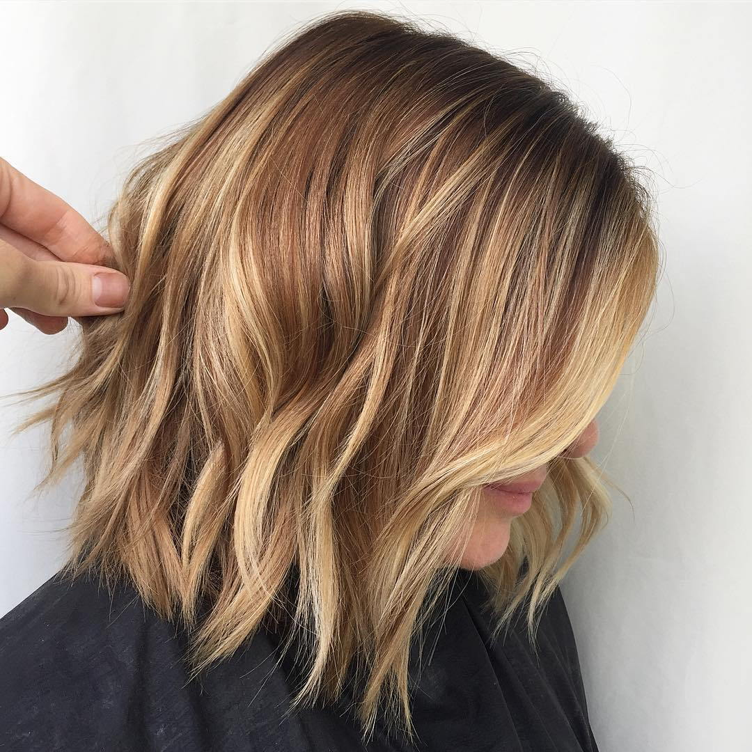 Caramel Blonde Choppy Bob