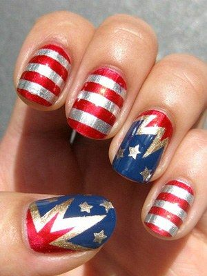 Nehet Side's fourth of july nail art